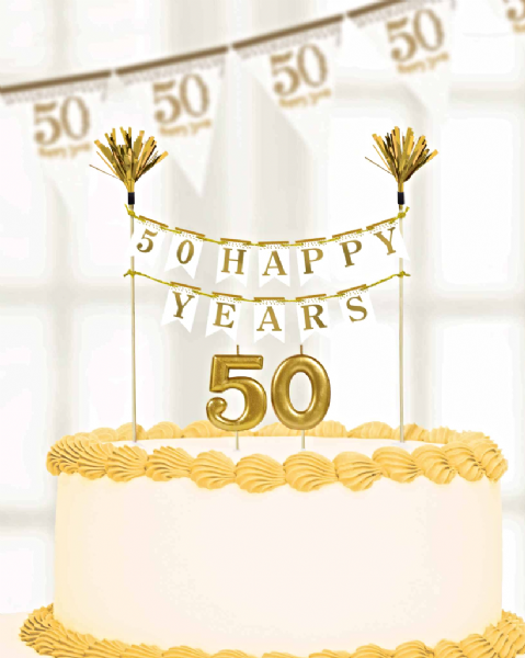 Sparkling Golden Anniversary Cake Decorations & Candles